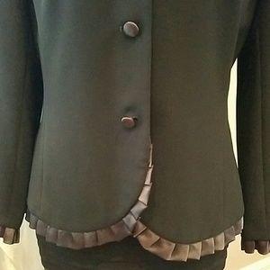 3 Button Formal Satin Ruffle Detail Blazer Size 8